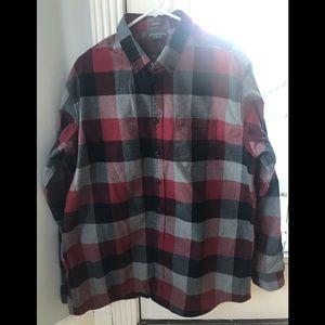Men's Flannel Shirt by Eddie Bauer Grey & Red TL